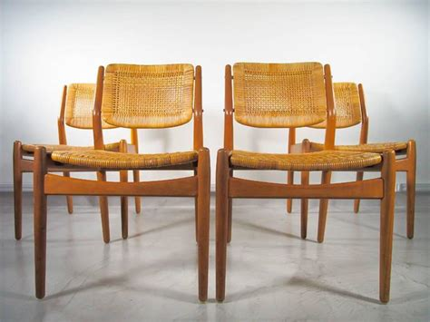 arne vodder dining chairs set of four arne vodder for sibast rattan dining chairs