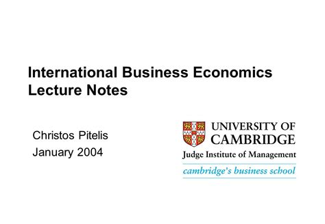 Mba Lecture Notes On International Business by International Business Economics Lecture Notes Ppt