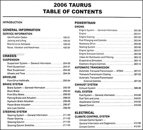 service manual pdf 2006 ford taurus transmission service repair manuals 2006 ford taurus