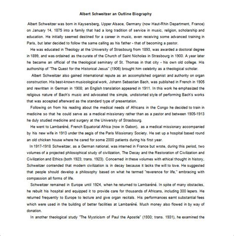 exle biography speech outline biography outline template 11 free word excel pdf