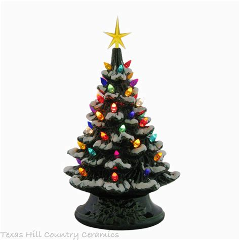 ceramic tabletop tree with lights snow is falling ceramic tree tabletop 11 1 2 inch