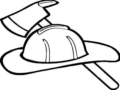 firefighter hat coloring page clipart panda free