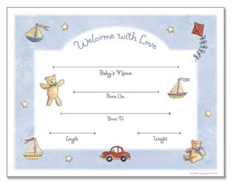 boy birth certificate template baby stuff