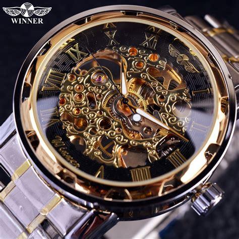 Sale 2017 Jam Tangan Pria Rolex Skeleton Romawi Rantai Kombinasi Pl 1 aliexpress buy transparent gold watches