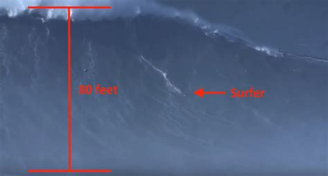 surfer rides  foot wave setting  world record