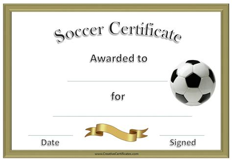Soccer Certificate Templates For Word soccer award certificate template customize