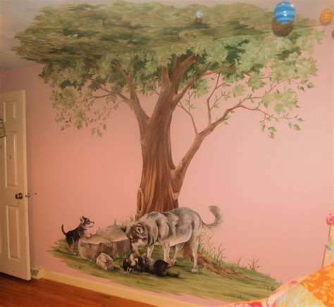 wall murals of trees tree mural with wolves traditional boston by macmurraydesigns