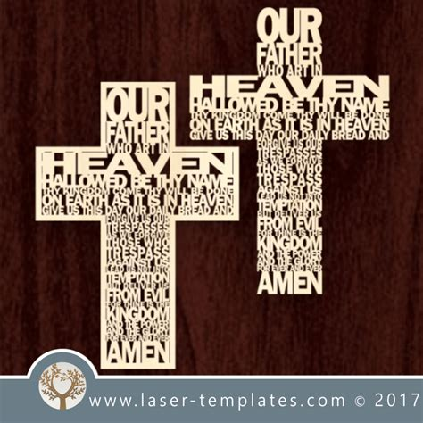 Laser Cut Word Cross Template Download Vector Pattern Design Our Father Cross Laser Ready Free Laser Engraving Templates