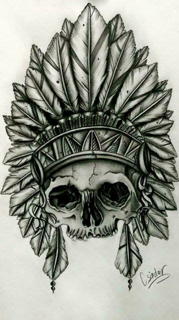 indian skull tattoo designs american indian skull with feather by