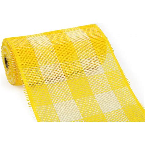 Paper Mesh Craft - 10 quot paper mesh roll yellow plaid 10 yards