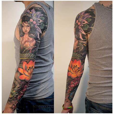 new school japanese tattoo sleeve full sleeve by pete zebley tattoonow