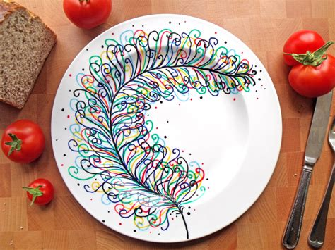 pottery design ideas hand painted porcelain dinner plate rainbow feather