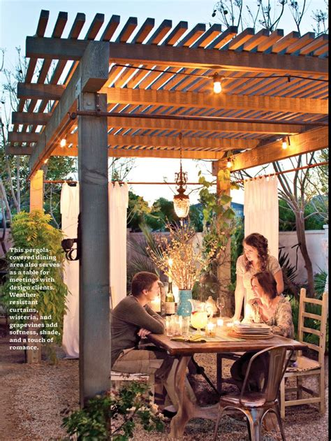 pergola with curtains and lights outside pinterest