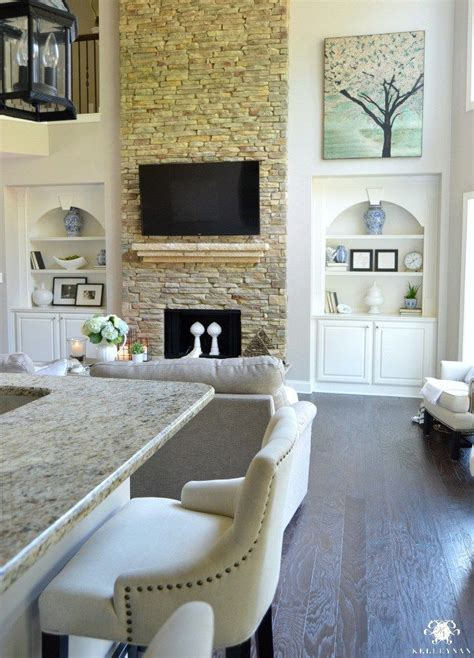 summer home showcase family room design fireplace built