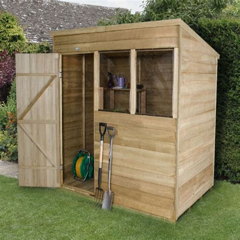5x7 Shed by Forest Overlap Pressure Treated Pent Shed 5x7 Elbec Garden Buildings