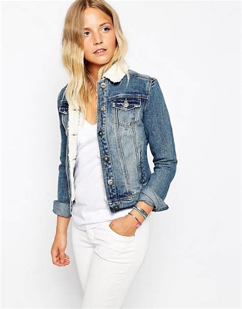 New Look Denim Jacket by New Look New Look Borg Collar Denim Jacket