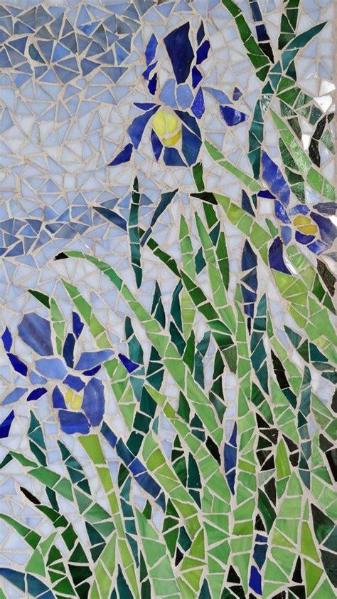 mosaic iris mosaic art stained glass blue iris floral monet warm