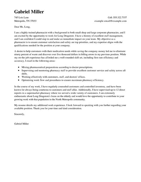 cover letter exle pharmacy best pharmacist cover letter exles livecareer