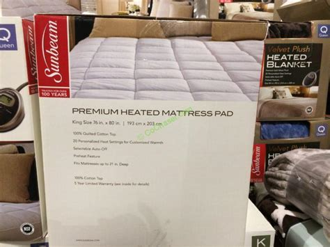 sunbeam premium quilted heated mattress pad or king