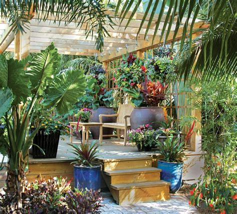 container gardens for florida this palm county landscape features tropical