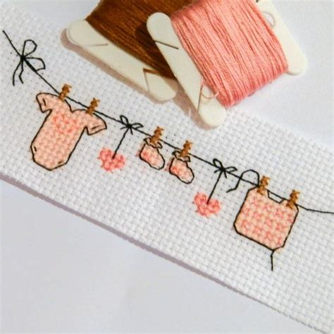 cross stitch pattern clothes line baby clothes cute cross stitch pattern pdf pink by