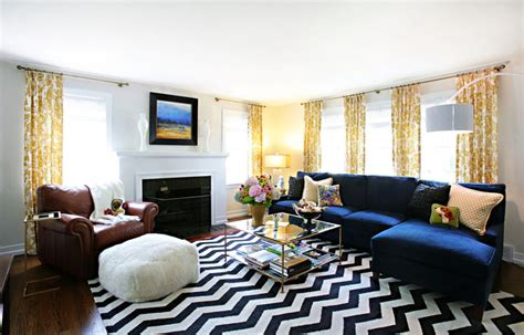 chevron living room how to make a statement with black and white rugs