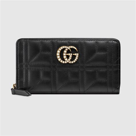 gucci gg marmont zip around wallet in black lyst
