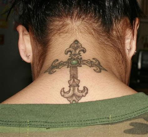 cross tattoos for women on back cross back of neck tattoos for designs