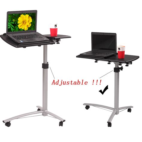 Laptop Rolling Desk Adjustable Tilt Stand Portable Caster Adjustable Mobile Rolling Laptop Desk