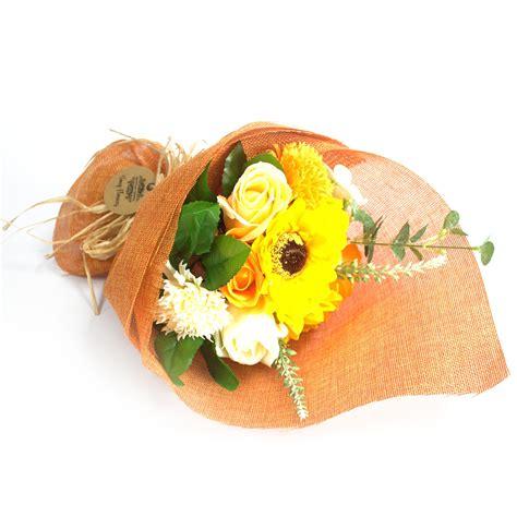16 Flower Soap Hadiah Valentineultahgraduation Anniversary standing soap flower bouquet orange