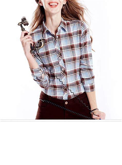light brown tops for women womens plaid shirt light blue white brown burgundy