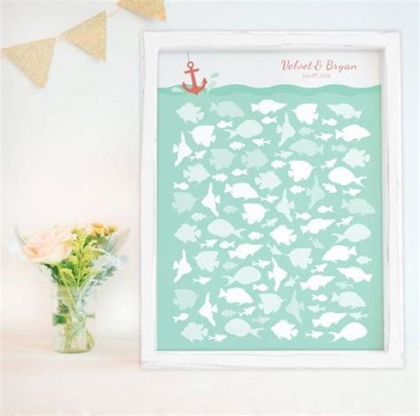 Nautical Wedding Guest Book Alternative With Fish In Ocean