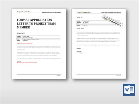 appreciation letter to project team formal appreciation letter to project team member