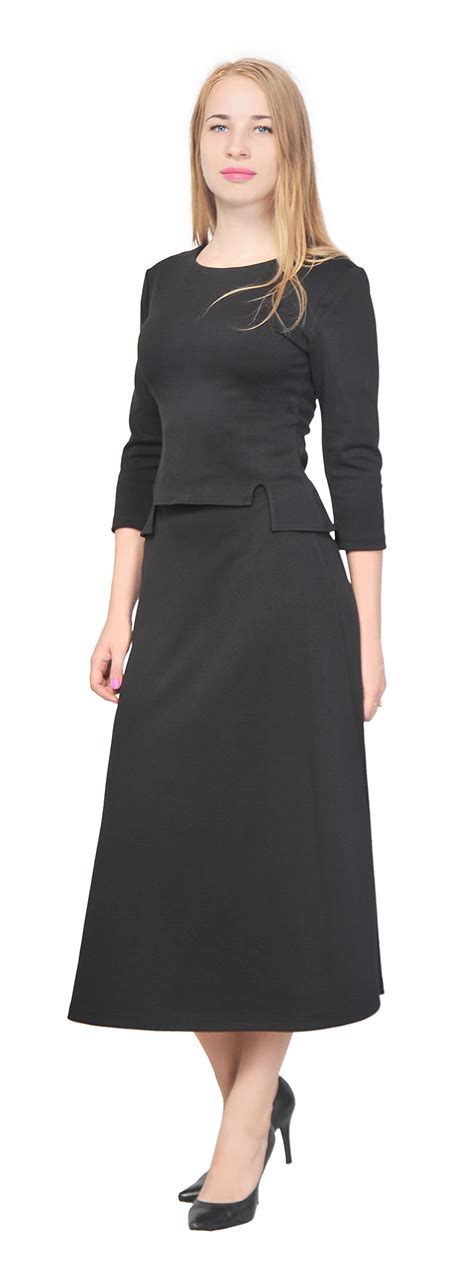 s top shirt a line midi skirt suit set casual office