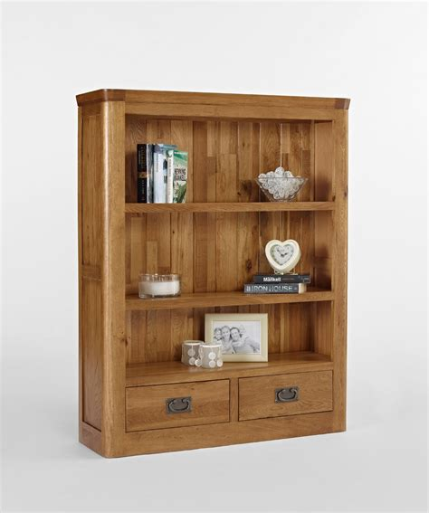 knightsbridge oak small bookcase with drawers