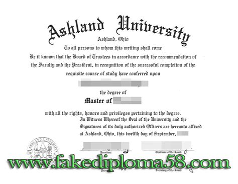 Ashland Mba Tuition by Bachelor S Degree Diploma Sle Related Keywords