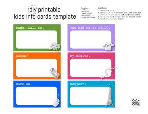 Diy Printable Kids Info Cards Template Card Templates Printable