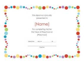 pre k certificates of completion preschool award