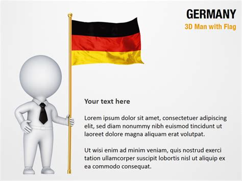 powerpoint layout germany 3d man with germany flag powerpoint map slides 3d man