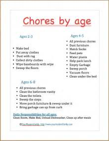 Age appropriate chores for young children