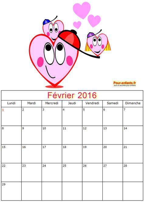 Calendrier Fevrier 2016 Calendriers De Fevrier 2016 224 Imprimer Gratuitement