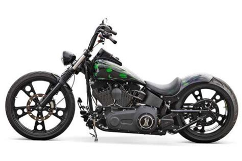 Motorrad Chopper Tuning by Harley Davidson Softail Green Flame Getunter Chopper