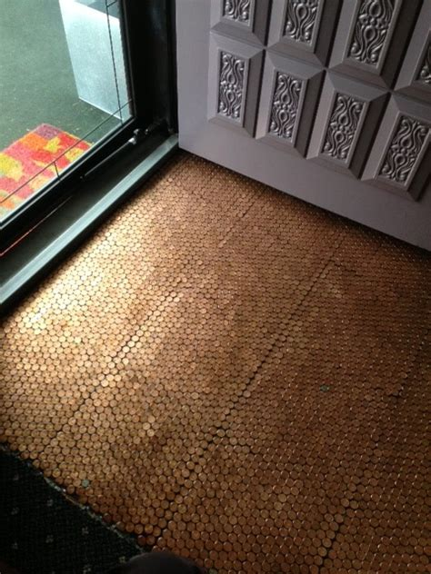 make a floor out of real pennies hometalk