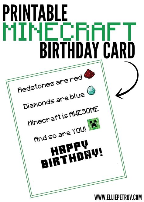 minecraft birthday card template printable minecraft birthday to go craft ideas