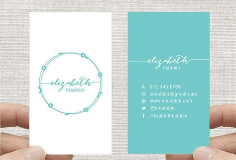 template 2x3 card business card design template vertical simple floral