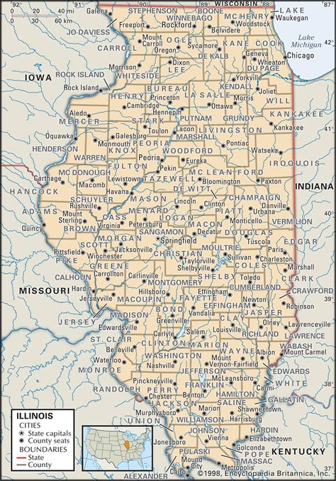 map of illinois state and county maps of illinois
