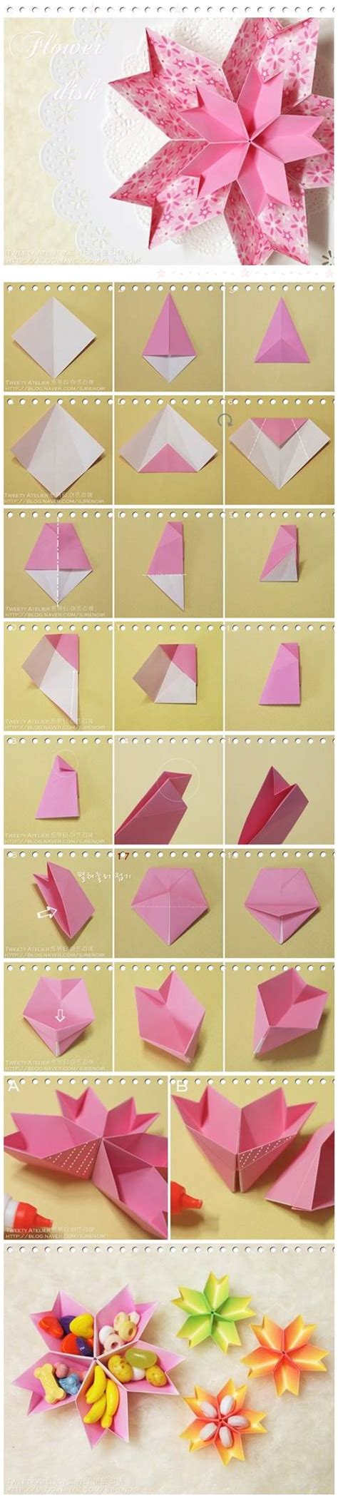 how to make paper flower dish step by step diy tutorial