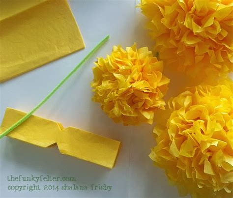How To Make Tissue Paper Flowers Without Pipe Cleaners - the funky felter diy tissue paper flowers craft tutorial