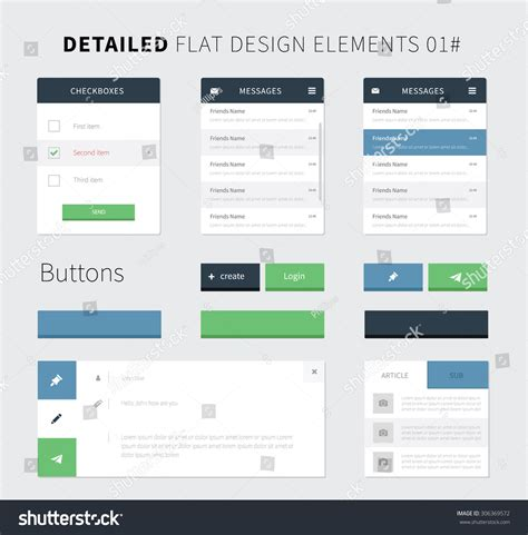 flat design ui elements set flat design ui kit webdesign stock vector 306369572