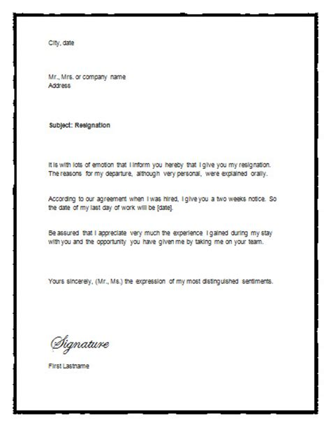 template for resignation letter for word sle letter of resignation with notice resignation letter